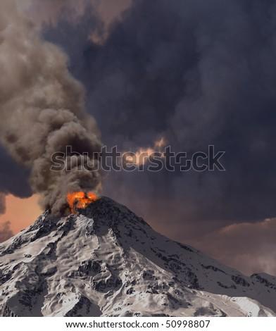 erupting of volcano (3D rendering) - stock photo