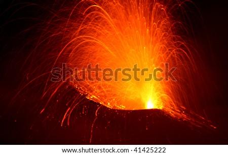 Erupting volcano Etna in Sicily - stock photo