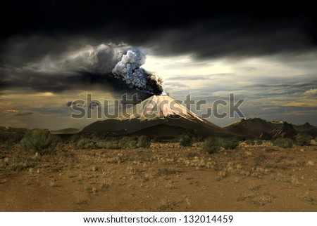 Erupting volcano - illustration - stock photo