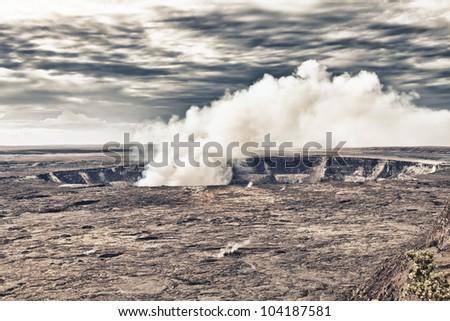 erupting volcano in Hawaii - stock photo