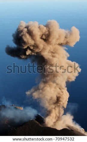 Erupting volcano Stromboli - stock photo