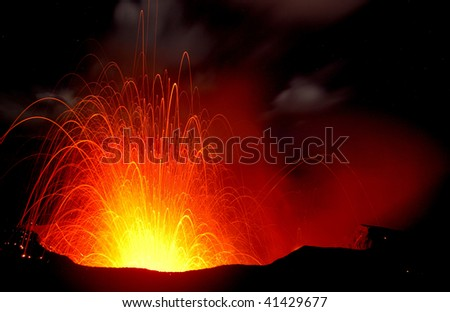 Erupting volcano with a huge crater. Etna Sicily - stock photo