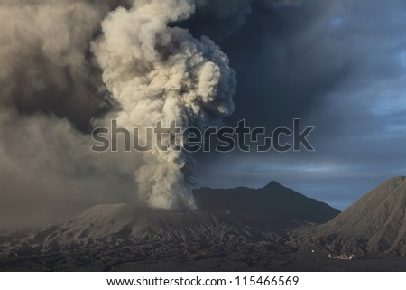 Eruption of ash cloud from Mount Bromo volcano, Tengger Caldera, Java, Indonesia - stock photo