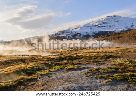 Eruption of Strokkur Geyser in Iceland - stock photo