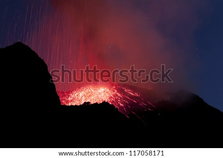 Eruption of Stromboli - stock photo