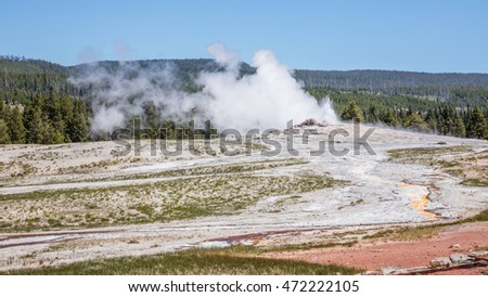 Eruption of the Old Faithful Geyser, Yellowstone National Park, Wyoming, USA