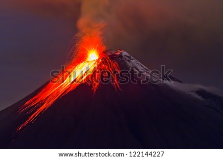 eruption of the volcano with molten lava flowing on the slopes (Tungurahua, Ecuador)