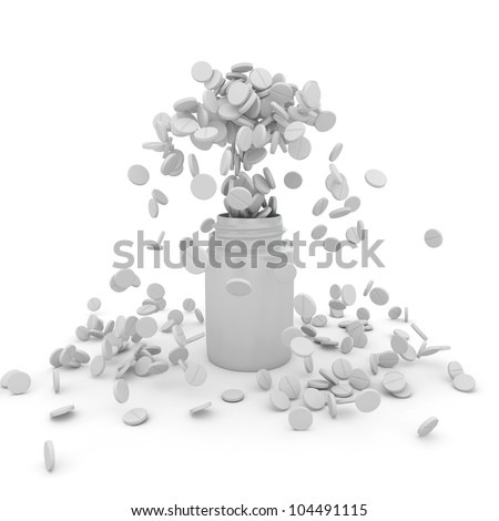 Eruption of white tablets from the bottle - stock photo