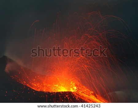 Eruption . View in a  erupting crater - stock photo
