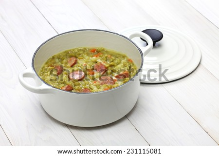 erwtensoep, pea soup, traditional dutch cuisine - stock photo