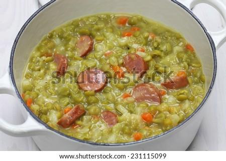 erwtensoep, pea soup, traditional dutch cuisine - stock photo