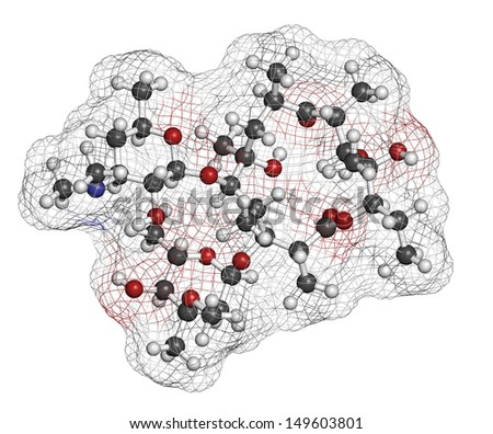 Erythromycin antibiotic drug (macrolide class), chemical structure Atoms are represented as spheres with conventional color coding: hydrogen (white), carbon (grey), nitrogen (blue), oxygen (red).