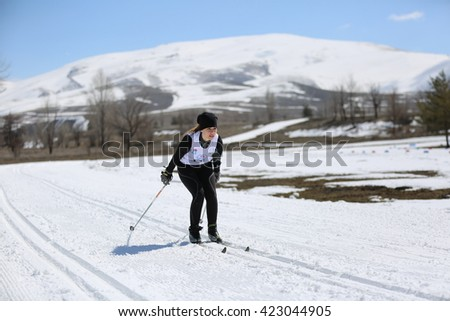 Erzurum, Turkey - March 22, 2016 : People competes  during the Cross-Country Skiing  Unilig University winter championship on March 22, 2016 in Erzurum, Turkey.