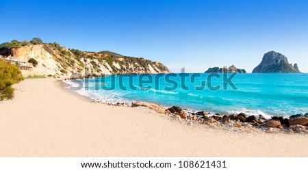 Es vedra island of Ibiza view from Cala d Hort in Balearic islands - stock photo