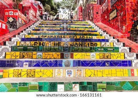Escadaria Selaron, Rio de Janeiro, Brazil - stock photo
