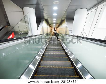 Escalator - stock photo