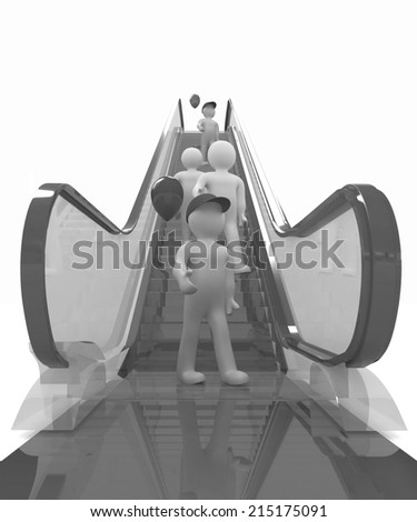 Escalator and 3d mans with colorfull balloons on a white background - stock photo