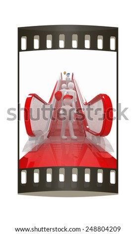 Escalator and 3d mans with colorfull balloons on a white background. The film strip - stock photo