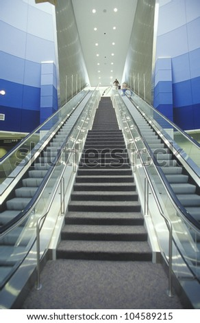 Escalator at Cleveland International Airport - stock photo