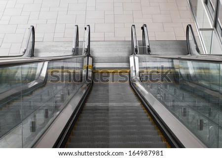 Escalator at the Colorado Convention Center in Downtown Denver. - stock photo