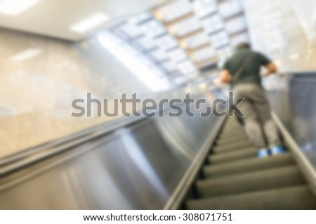escalator blur backgrounds - stock photo