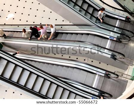escalator in a big mall - stock photo