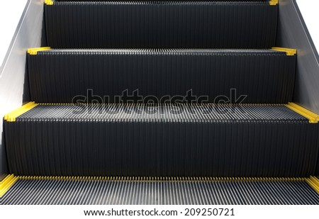 Escalator in close-up shot .Stairs are  rowed or lined things. - stock photo