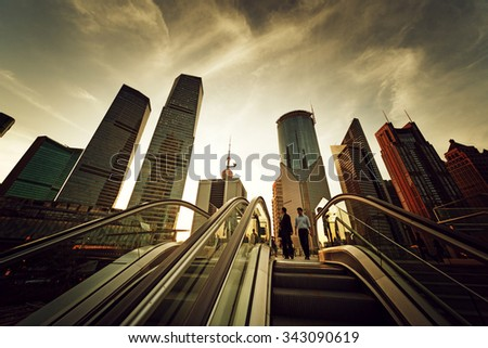 escalator in Shanghai lujiazui financial center, China - stock photo