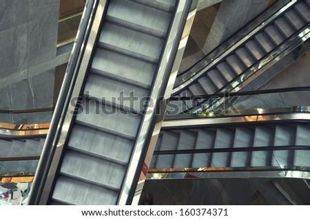 Escalator in shop. Element of design. - stock photo