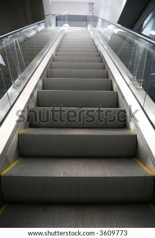 escalator in shopping center - stock photo