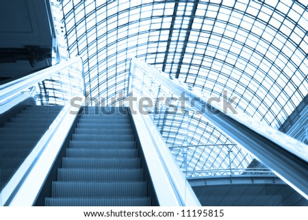 Escalator in shopping center, Moscow, GUM, Russia
