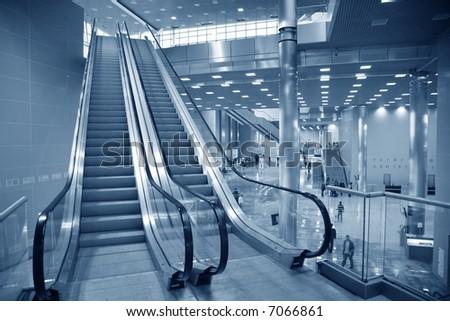 escalator in the business center - stock photo