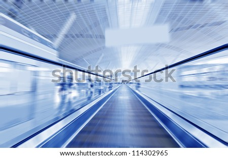 escalator ,interior of the shanghai pudong airport - stock photo