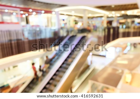 escalator motion blurred in shopping mall. - stock photo