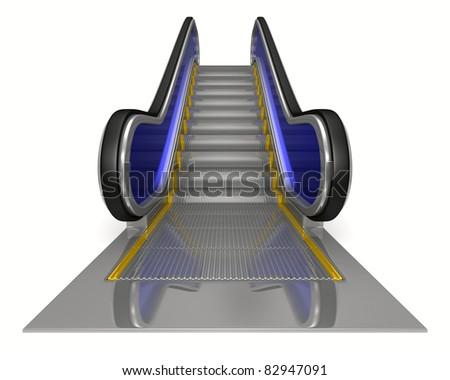 escalator on white background. Isolated 3D image - stock photo