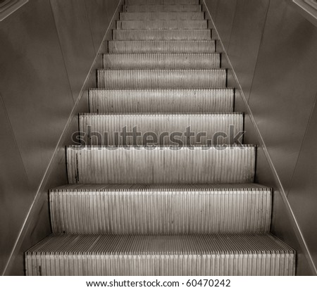 Escalator staircase - stock photo