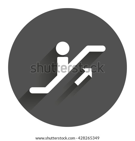 Escalator staircase icon. Elevator moving stairs up symbol. Circle flat button with shadow. Modern UI website navigation. - stock photo