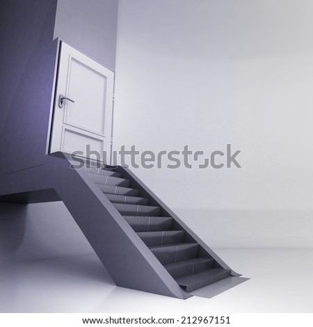 escalator stairs with closed door in conceptual space illustration