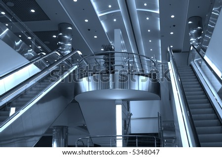 Escalators and stairs ,Domodedovo airport, Moscow, Russia - stock photo