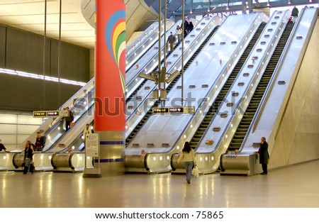 Escalators at Canary Wharf, London - stock photo