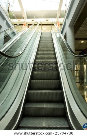 Escalators going up and down