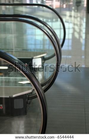 Escalators in a row - stock photo