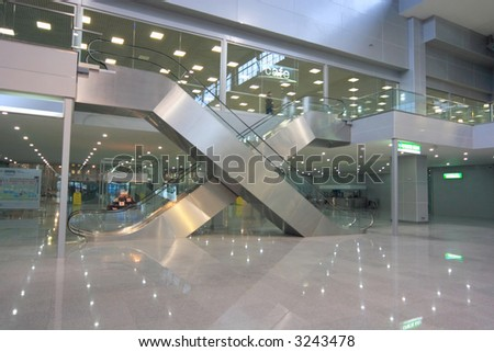 escalators in business centre - stock photo