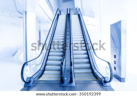 Escalators in modern building