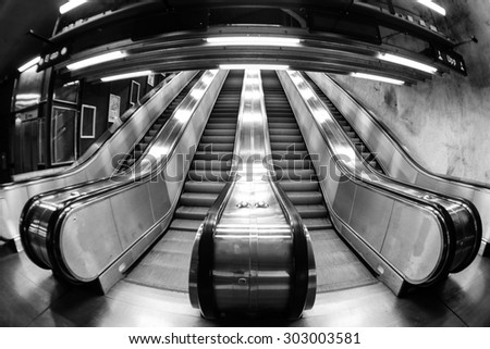 Escalators in Stockholm metro - stock photo
