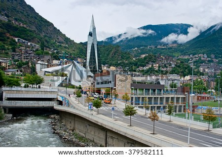 ESCALDES, ANDORRA - JULY 28: Balneary of Caldea on July 28, 2014 in Escaldes, Andorra. Caldea is Europe's largest health spa designed by the architect Jean-Michel Ruols in 1994. - stock photo
