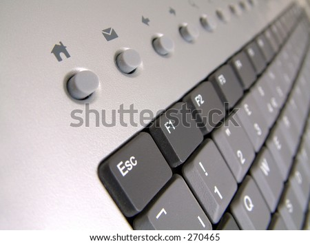 Escape Home - Pc keyboard concentrating on Escape key and internet home and email shortcut keys. - stock photo