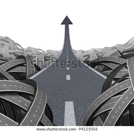 Escape to success path with a road to financial freedom as a rise to the top breaking free from the confusion of tangled roads with a clear goal leading to a straight arrow to wealth and opportunity. - stock photo