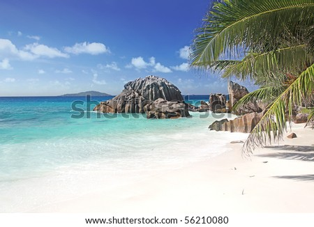 Escapee to Paradise, La Dique the most Beautiful idyllic island of The Seychelles in the indian Ocean - stock photo