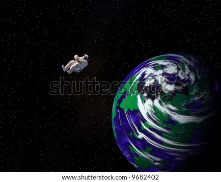 Escaping Earth with Astronaut projected from spinning Planet. Empty space suit courtesy of Nasa - stock photo